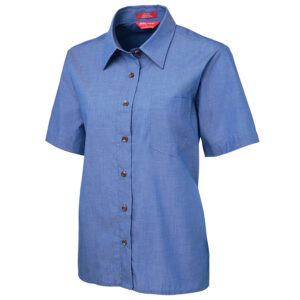 JB's LADIES ORIGINAL S/S INIDIGO CHAMBRAY SHIRT