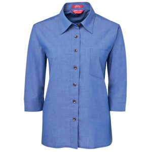 JB's LADIES ORIGINAL 3/4 INDIGO CHMBRAY SHIRT