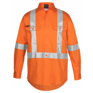 JB'S HI VIS (D+N) L/S 150G CROSS BACK TAPE SHIRT