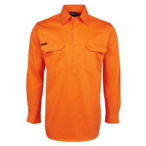 JB'S HI VIS L/S 190G FRONT CLOSE SHIRT