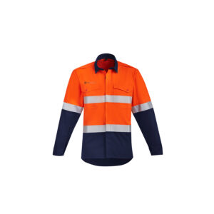 Syzmik Mens Orange Flame HRC 2 Hoop Taped Open Front Spliced Shirt