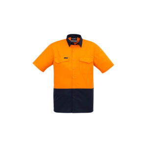 Syzmik Mens Rugged Cooling Hi Vis Spliced Short Sleeve Shirt
