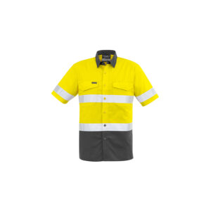 Syzmik Mens Rugged Cooling Taped Hi Vis Spliced Short Sleeve Shirt
